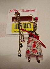 BETSEY JOHNSON SKULLS AND ROSES PINK SAILOR GIRL MIS MATCHED EARRINGS