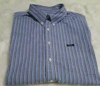 Chaps Ralph Lauren Men's Button Up Shirt Short Sleeve 2XL XXL Stiped Blue I-23