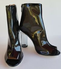 Black Transparent Clear PeepToe Lucite Block Chunky High Heel Ankle Boot Booties