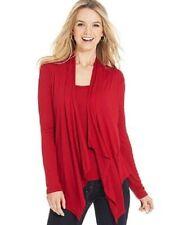 Karen Kane Red Knit Jersey Layered Tank Cardigan Combo Inset Top M $98 SEP