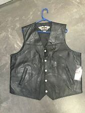 Hawg Hides Genuine Black Leather Motorcycle vest 2XX zip out lining NWT