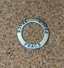 """""""PEACE"""" Affirmation Circle 925 Sterling Silver Pendant USA"""