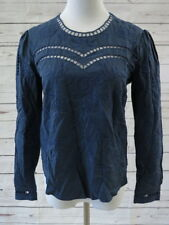 Sea New York Blouse Navy Broderie Anglaise Tencel Size 2 Eyelet Embroidered Top