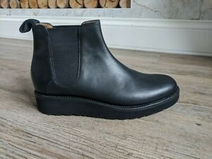 GRENSON RRP £235 Black leather LYDIA wedge chelsea boots UK 7