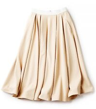 Torn by Ronny Kobo May in Toasted Almond Textured Pleated Midi Skirt S $248 NWT