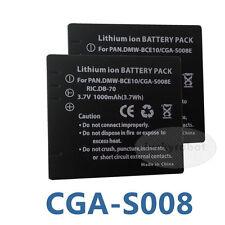 2X Rechargeable new Battery for Panasonic lumix CGA-S008E DMW-BCE10E VW-VBJ10