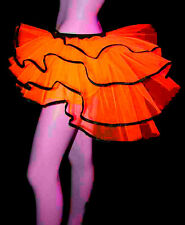 WOMEN UV NEON ORANGE BACHELORETTE BUSTLE PEACOCK TUTU TULLE PETTICOAT BURLESQUE