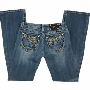 Miss Me Womens Embellished Rhinestone Low Rise Denim Blue Boot Cut Jeans Size 27