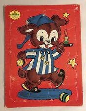 Vintage Furry Tray Puzzle Sta N Place Bedtime Puppy Dog Toy Game USA