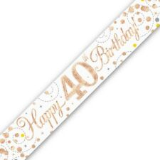 Holographic Rose Gold Happy 40th Birthday Banner 270 cm long repeats 3 times
