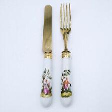 Antikes Besteck (Messer und Gabel) - Porzellan - Meissen - 18. Jahrhundert