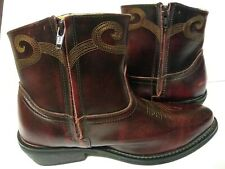 Men's Western Ankle Boots Size 9.5 Saddle Tramp Cardovan Embroidered Leather