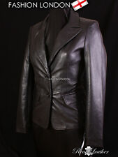 'DIVA' Ladies Black Smart Stylish BLAZER Women's Casual Real Leather Jacket 3133