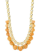 NWT FOSSIL Brand Sun Set Peach Jade Bead Frontal Gold-Tone Necklace $118