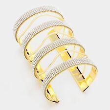 Statement Celeb Glam Long Oversized Crystal Cuff Bangle Bracelet Rocks Boutique