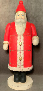 Primitive Folkart Red Weihnachtsmann Santa Father Christmas Box Figure Jointed