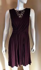 BAILEY 44 LACE DETAIL PLEATED V-NECK SLEEVELESS BRULEE SZ M DRESS New