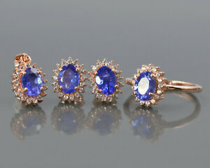 Oval Natural Tanzanite Gemstone 14K Rose Gold Ring Earring Pendant Jewelry Set