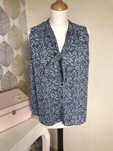 Matalan Blue and White Print Blouse – Size 10