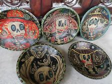 "11"" Mexican Folk Art Carved Wood Dough Batea Bowl Kitchen Catrina Day of Dead"