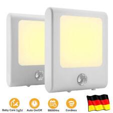2er Set LED Nachtlicht Notlicht Steckdose Lampen mit Bewegungsmelder Warmweiß