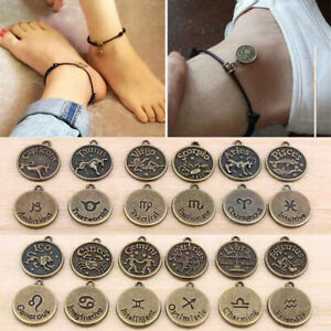 12 Constellation Round Coin Pendant Leather Bangle Chain Bracelet Anklet Cuff