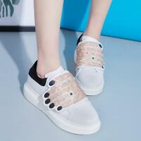 Chic Womens Sport Sneakers Creepers Platform Glitter White Shoes Korean Stylish