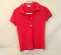 Lacoste Womens Size 38 Pink Short Sleeve Polo Shirt Top Blouse