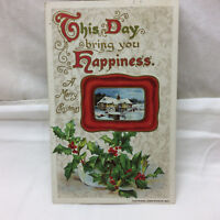 Vintage Postcard Embossed Merry Christmas Happiness Greeting john Winsch 1910