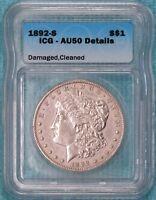 1892-S AU-50 Details Morgan Silver Dollar Almost Uncirculated
