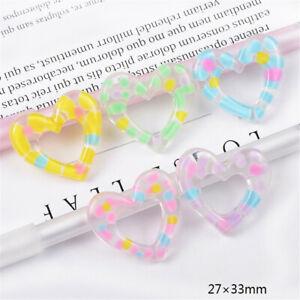 10 Transparent Resin Heart Cabochon Dotted Flatback Embellishment Decor 27x33mm