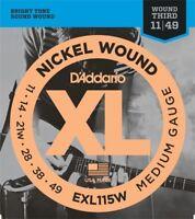 D'Addario EXL115W Electric Guitar Strings 11-49 Wound 3rd String Medium