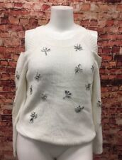 INC International Ivory Sequined Cold Shoulder Sweater Size PXL