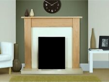 ELECTRIC OAK FIREPLACE SURROUND SET IVORY CREAM BACK PANEL FOR ELECTRIC FIRE`S