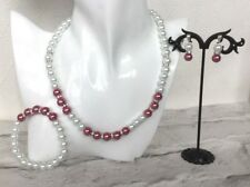 #ba7   Glass Pearl Necklace, Bracelet and Earring Jewellery Set