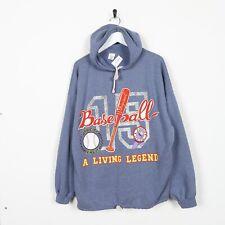 Vintage USA College Big Graphic Logo Hoodie Sweatshirt Blue Large L
