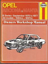 OPEL ASCONA et MANTA B Série sept 1975-77 1584 & 1897cc Haynes Workshop Manual