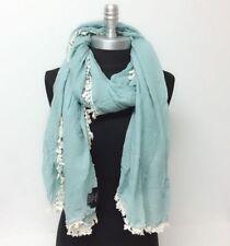 New Women Lady Soft Chiffon w/ Tassels long Scarf Wrap Shawl Mint Cozy #N01