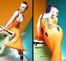 HOUSE OF HARLOT ORANGE LATEX DIVA CORSET GOWN FETISH GUMMI RUBBER FIFTH ELEMENT