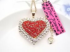 Betsey Johnson Fashion Jewelry inlay red Crystal Heart Pendant Necklace # FMH