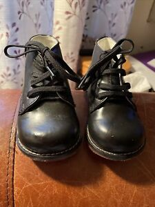 Josmo Walker Black Leather Vintage Style Boots Infant size 4.5