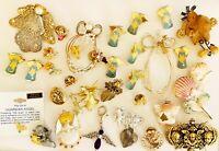 Vintage HUGE Lot Heavenly Angel Jewelry Pins Enamel Rhinestone Porcelain + Ho54