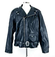 Hudson Mens Motorcycle Jacket Size 4X Black Stars Faux Leather Zip Up Belted