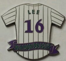 Travis Lee (16) AZ PURPLE DIAMONDBACKS White Pinstripe Baseball Jersey MLB Pin