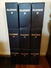 9 PLAYBOY magazine LIBRARY CASES - Gold Embossed Blue Leatherette