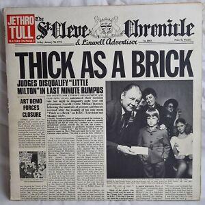 JETHRO TULL Thick As A Brick LP UK 1st Newspaper Island Porky Pecko VG/VG+