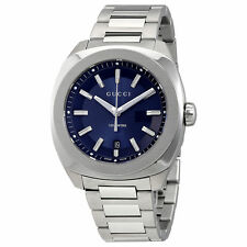 New Gucci GG2570 XL Dark Blue Sun Brushed Dial Mens Watch YA142205