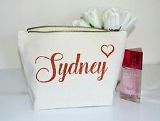 Personalised Make Up Accessory Cosmetic Bag Bridesmaid Customised Rose gold