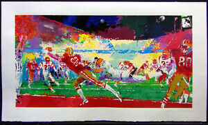 "LeRoy Neiman ""Super Play"" football Hand Signed Artwork 49ers Bengals NFL L@@K!"