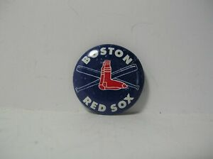Vintage Boston Red Sox Pin Back Button Dark Blue